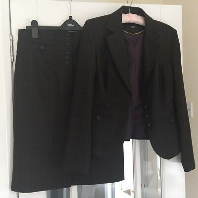 Next Ladies Suit Size 12, brown two piece, high waisted skirt and jacket