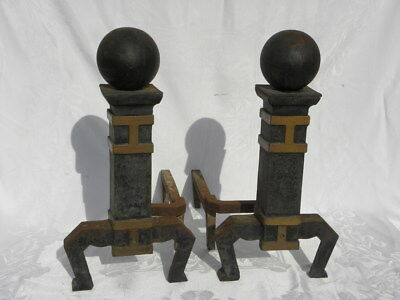 Pair of Antique/Vintage Cast Iron Arts and Crafts Andirons or Fire Dogs