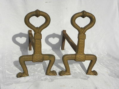 Pair of Antique/Vintage Painted Gold Cast Iron Wayne No. 3 A Andirons Fire Dogs