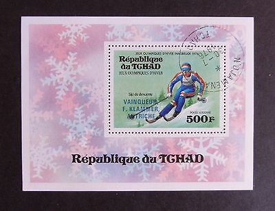 Chad 1976 Olympic Games Innsbruck MS441 miniature sheet CTO used downhill skiing