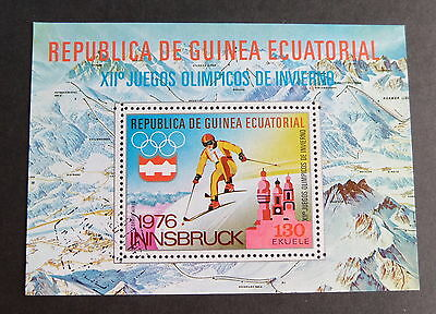 Equatorial Guinea 1976 winter olympic games skiing MS miniature CTO used