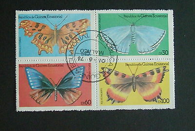 Equatorial Guinea Butterflies block of 4 used Butterfly