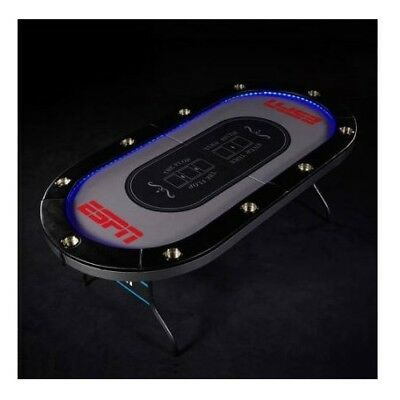 Folding Poker Table LED Lights Cup Holder Portable 10 Player Game Room Accessory