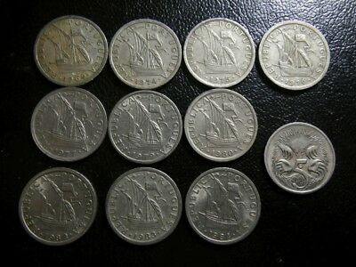 Portugal 1969 - 1980 2 1/2 escudos x 10 different coins