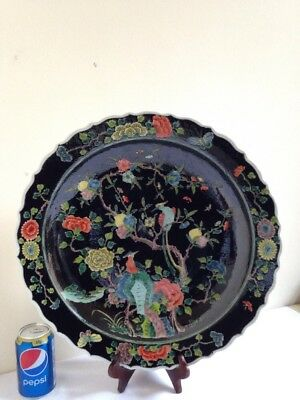 Chinese Famille Noir Large Deep Dish-Kangxi Six Character Marks-Fine Example
