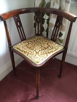 Edwardian upholstered corner chair.
