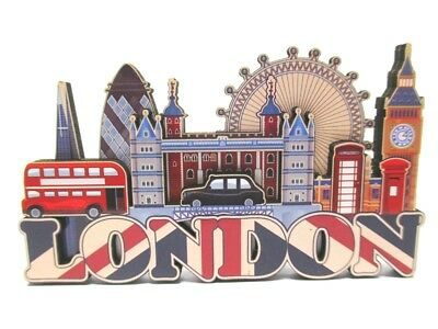 London Holz 2D Magnet All Sights in One Souvenir Great Britain,Neu