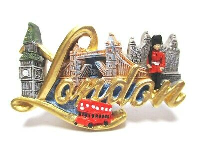 London Magnet Schrift Big Ben Tower Bridge Poly Souvenir Great Britain,Neu