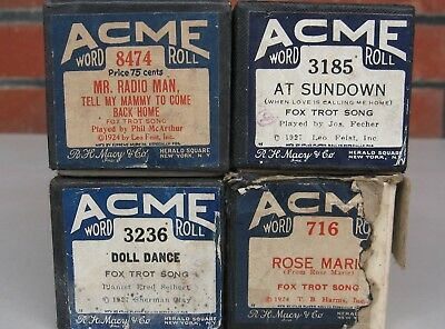 4 X Acme brand Song Player piano Pianola music Rolls -- see pics for titles