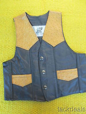 Western Vintage Mexico Made Genuine Leather & Ostrich Medium Cowboy Vest