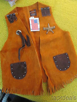 New John R Craighead Vintage Western Cowboy Vest Brown Kids 12 LEATHER!!