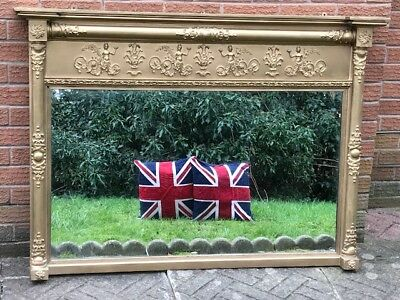 1 Large Impressive Antique Regency Style Old Gilt Gesso Overmantle Mirror