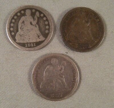U.s. 1841-1875-1877 Seated Liberty  Dimes - 3 Coins