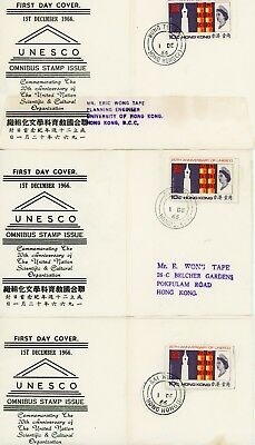 3 Hong Kong, First Day Covers (Front Sheet Only), Rare, 1966, Rare Cancels