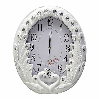 Wall Swans Clock in White