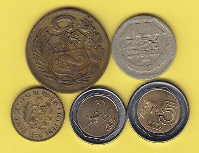Peru  small lot of 5 coins,