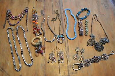 Lot Of 14 Vintage Antique Necklaces,misc Jewelry,earrings,metal,beaded Bracelets