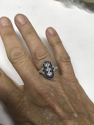 14k White Gold diamond and sapphire art deco style ring size 7
