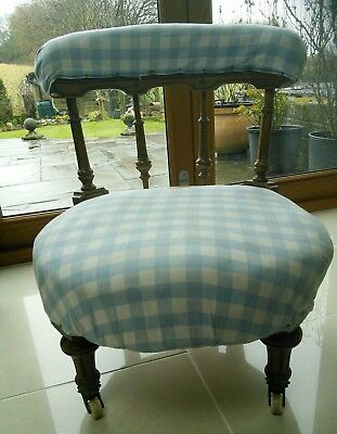 Gorgeous Small Prayer or Child's Chair.  Re upholstery of fabric required.