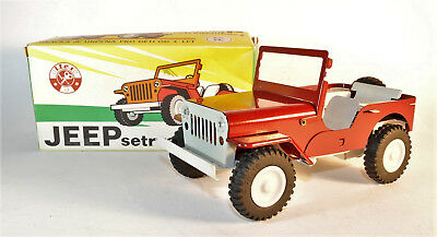Ites GAMA Jeep,Blechauto,weinrot,tin toy car,friction,Schwungrad,CSSR 1990,OVP