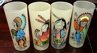 Native American Indian characters Libby Glasses rare and old set of 4 designs