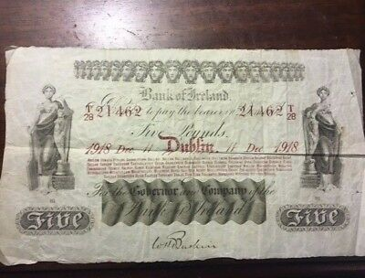 1918 Bank of Ireland 5 Pound Bank Note Extremely Rare