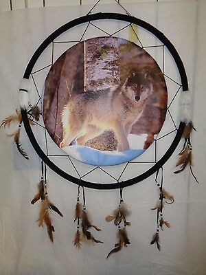 "Wolf Standing in Snow Dream Catcher. 23 1/2""D"
