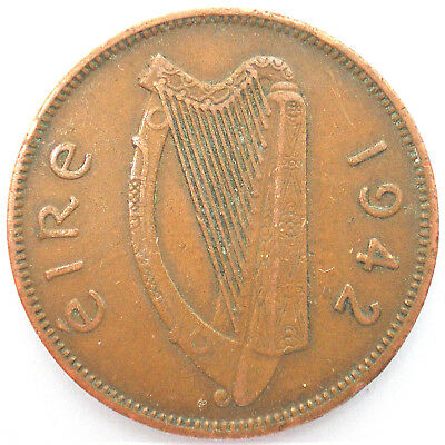 ½ Penny , 1942, Irland, 18/18/80