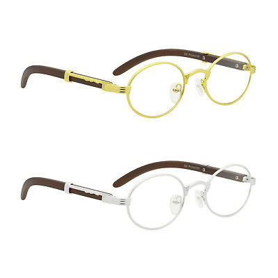Mens Classy Style Clear Lens Eye Glasses Wooden Print Oval Silver Gold Frame