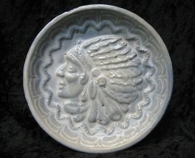 "Antique Ironstone Faience Art Pottery Chief's Head Tile - Arts & Crafts 4 1/2"" D"