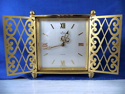 Stunning And Rare Smiths Deluxe 8 Day Mantel / Table Clock In Heavy Gilt Brass.