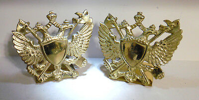 Vintage Brass Andrea By Sadek Japan Double Eagle And Shield Bookends