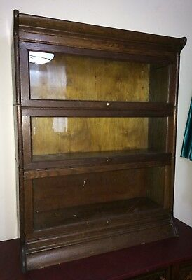 1930s Globe Wernicke Style Stacking Oak Library/ Barristers Bookcase 3 Section