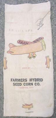 Farmers Hybrid Seed Corn Co. 56 lb. Seed Sack Hampton, Iowa Flying Ear of Corn