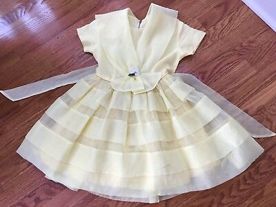 Vintage 1950's Yellow Sheer Party Dress Girls Size 4/5 LJV