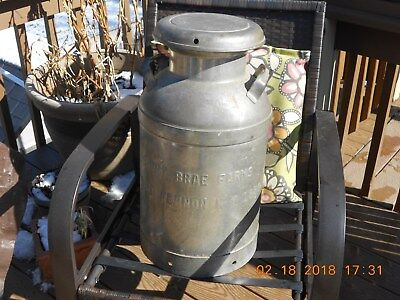 Vintage Sunny Brae Farms Galvanized Milk Can With Lid