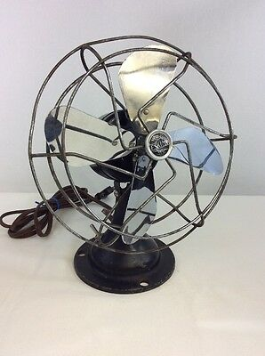 Vintage Eskimo Electric Metal Fan United Electrical Mfg. 1930's Steampunk Works!