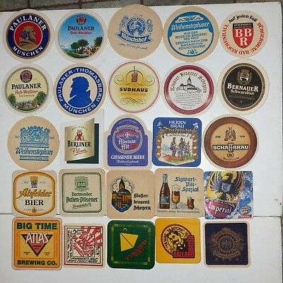 Beer coasters mats Germany & USA LOT 25 assorted two sided collection #3