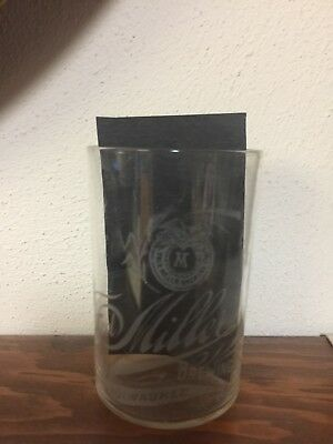 Fred Miller brewing co etched beer glass pre pro Milwaukee wi USA