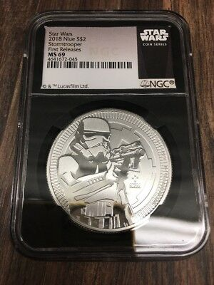 2018 Star Wars Classic Stormtrooper 1 oz Silver NGC MS69 ER Black Core