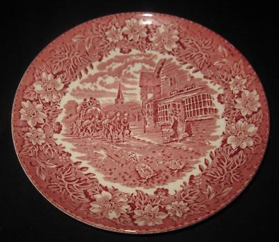 Royal Tudor Ware COACHING TAVERNS Red Pink Oversize Saucer 1828 Staffordshire