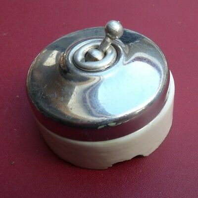 Vintage French ceramic and chrome light switch by S D