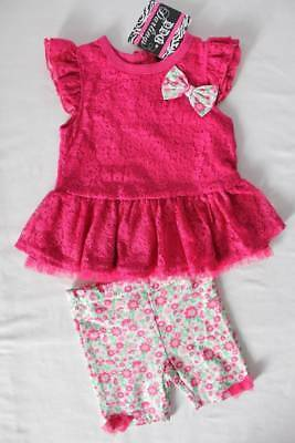 NEW Toddler Girls 2 pc Outfit Size 2T Pink Lace Dress Floral Capri Dressy Set