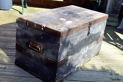Large Vintage Wooden Trunk / Chest