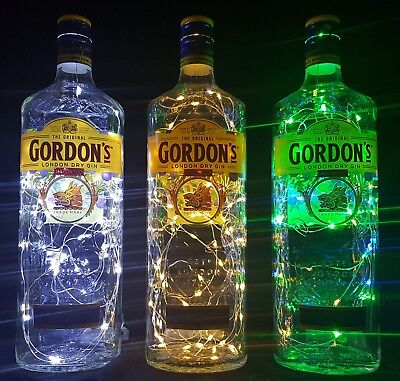 Gordons Gin  Flaschen Lampe mit 80 LEDs Farbauswahl Upcycling Geschenk Idee