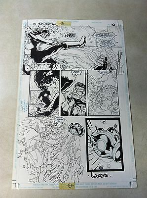 GREEN LANTERN 3D #1 original comic art BATTLES DOCTOR LIGHT, AWESOME ACTION