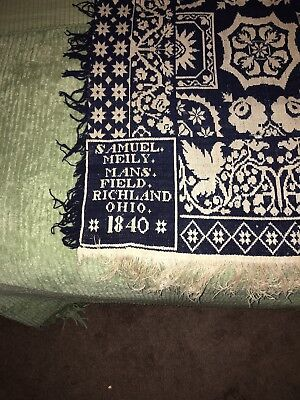 Samuel Meily Coverlet Mansfield Richland OH. 1840 Antique Vintage