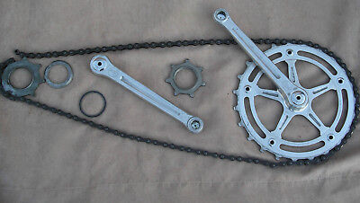 1958 Vintage First Generation Track Pista Crankset & Inch Pitch Skip Tooth