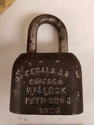 Antique Padlock Lock NO Key Gerald Co. Chicago 1920 Early Rare Vintage OPEN