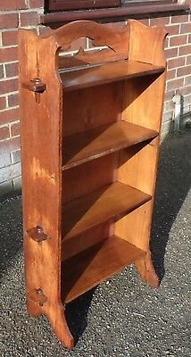 Edwardian antique Arts & Crafts solid pegged oak open library bookcase shelves
